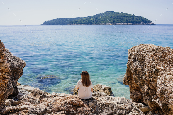 Woman by the Adriatic sea - Stock Photo - Images