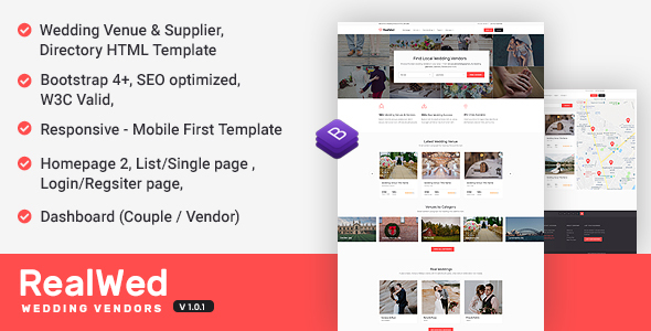 Image of Realwed - Wedding Supplier Directory & Listing HTML Template