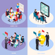 Business Coaching Isometric Design Concept