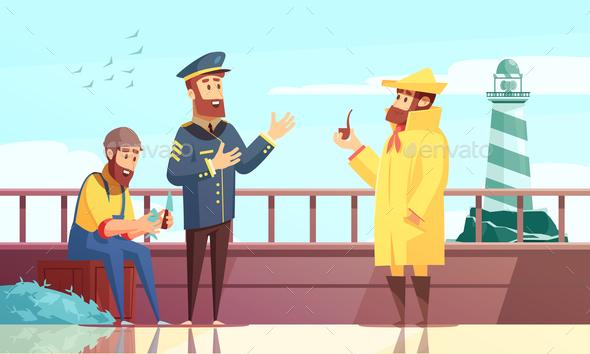 Nautical Cartoon Background - People Characters