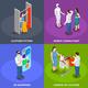Consumers Isometric Concept Icons Set