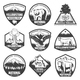 Vintage Monochrome National Park Labels Set
