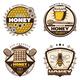 Vintage Colored Honey Emblems Set