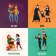 Subcultures Family Cartoon Design Concept