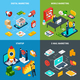 Digital Marketing 2x2 Isometric Concept