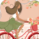 Girl on Vintage Bicycle with Flowers - GraphicRiver Item for Sale
