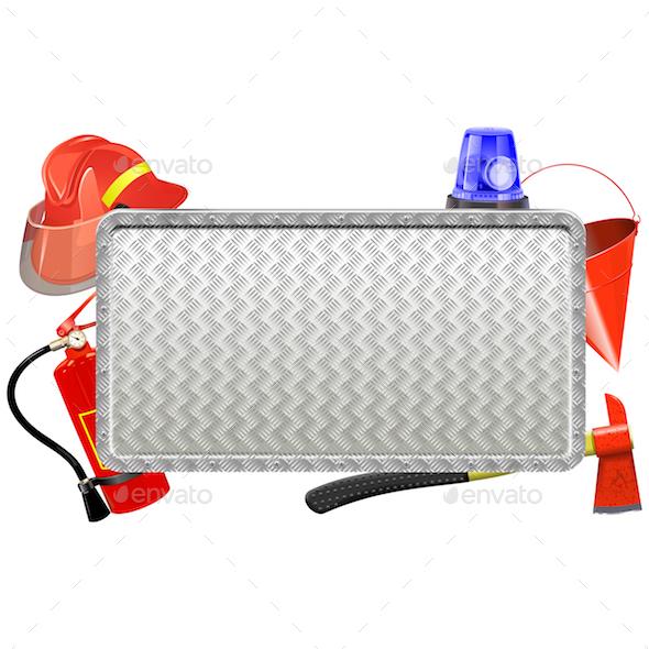 Vector Firefighter Metal Board - Industries Business