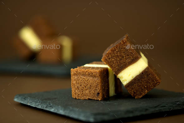 Chocolate cheese layer cake - Stock Photo - Images