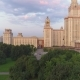 Moscow State University in Summer. Russia. Flying From Trees To Panoramic View. Aerial View - VideoHive Item for Sale