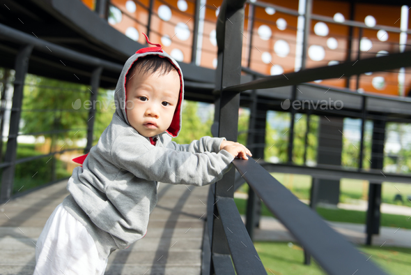 Portrait of little Asian baby boy - Stock Photo - Images