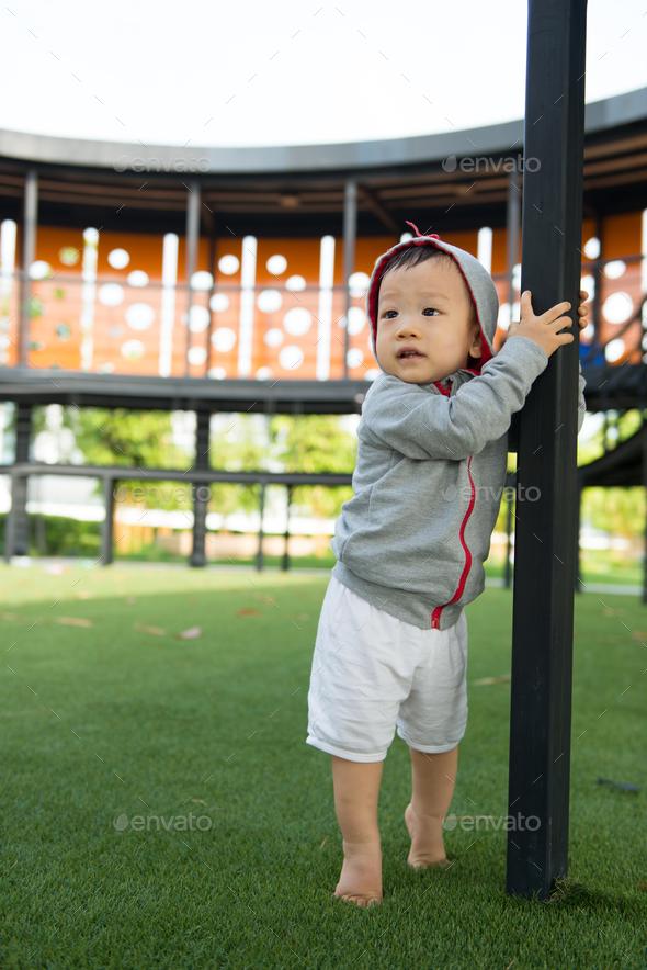 Portrait of little Asian baby boy - Stock Photo - Images