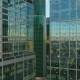 Flying Up Between Two Modern Tall Skyscrapers with Offices and Apartments at Sunrise - VideoHive Item for Sale