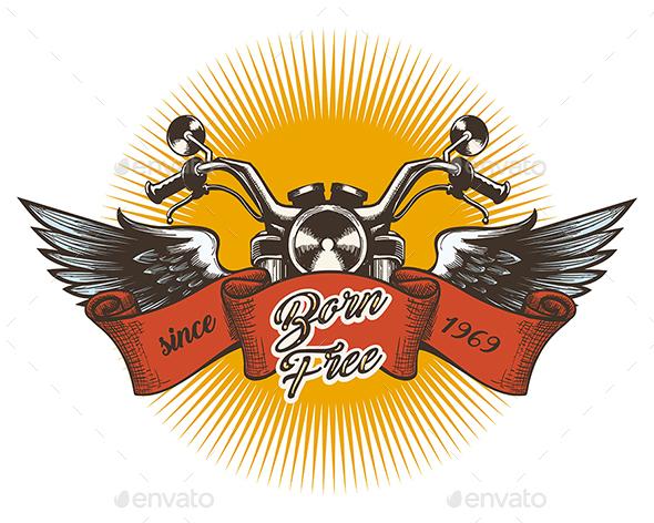 Motor Club Colorful Emblem - Tattoos Vectors