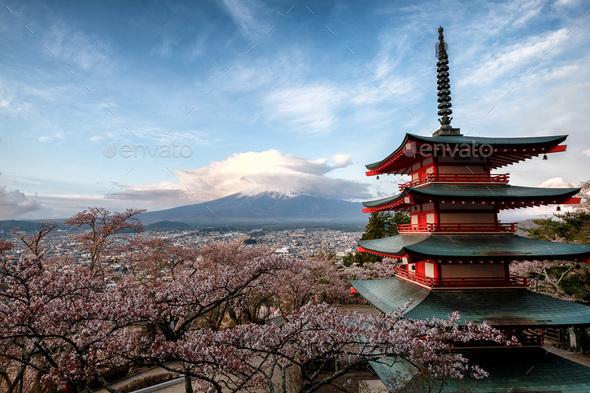 Chureito Pagoda overlooking Mt Fuji  - Stock Photo - Images