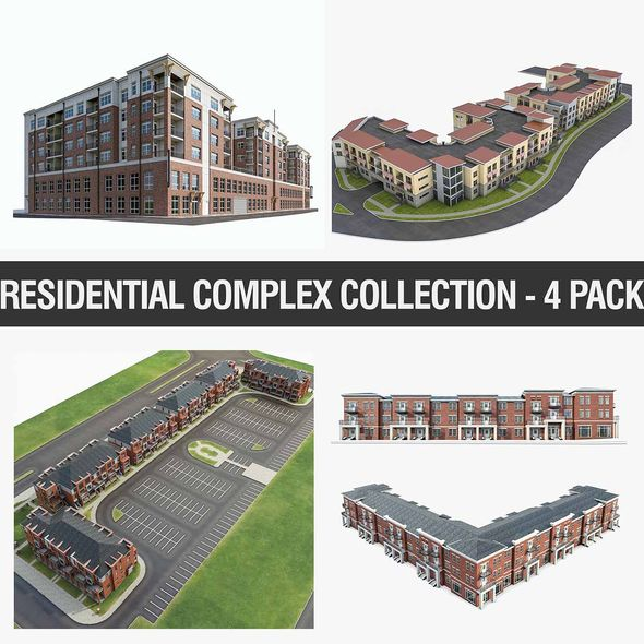 Residential Complex Collection - 4 Pack - 3DOcean Item for Sale