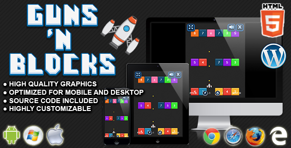 Guns and Blocks - HTML5 Arcade Game - CodeCanyon Item for Sale