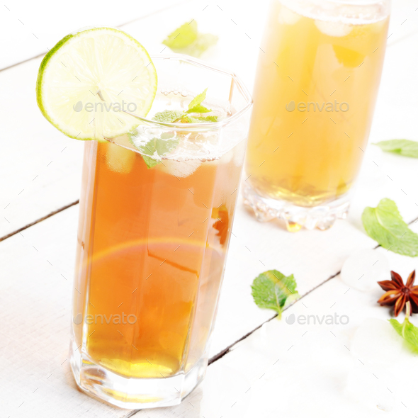 Lime and mint Fruit beer with ice - Stock Photo - Images