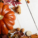 High angle shot of Pumpkin with dry maple and oak leaves nuts on - PhotoDune Item for Sale