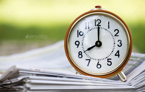 Time management - retro red alarm clock  - Stock Photo - Images