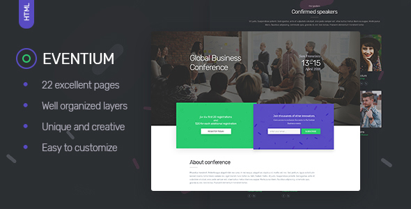 Eventium - Responsive Events HTML5 Template - Events Entertainment