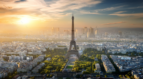 Aerial view on Eiffel Tower - Stock Photo - Images
