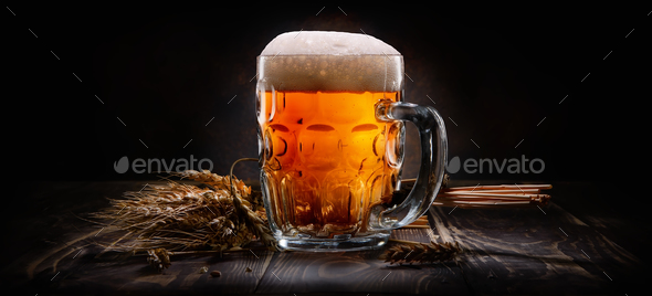 Beer on black background - Stock Photo - Images