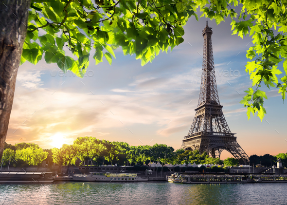 Sunset and Eiffel Tower - Stock Photo - Images