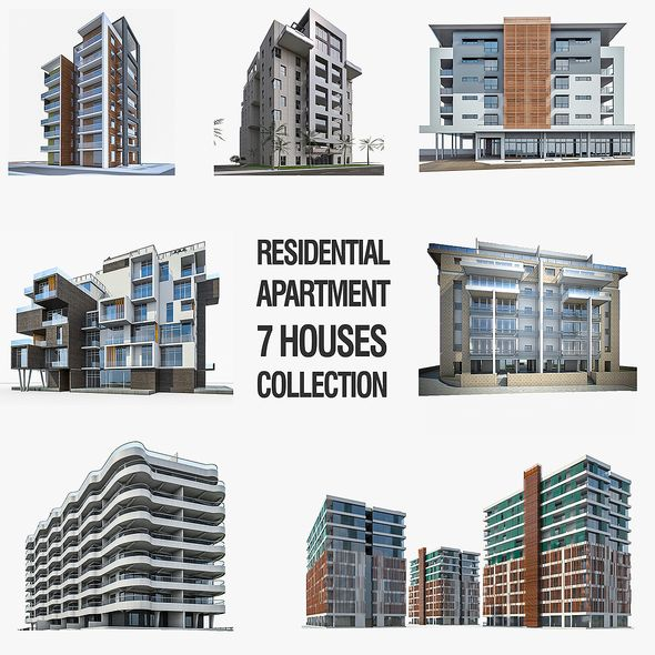 Residential Buildings Collection - 7 Pack - 3DOcean Item for Sale