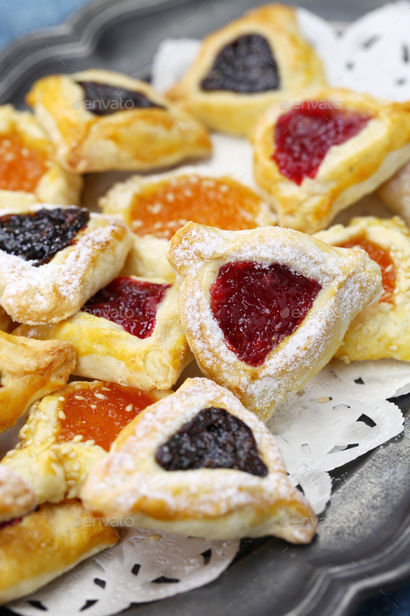 homemade hamantaschen cookies for happy Purim - Stock Photo - Images