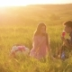 Young Family on a Picnic, on Sunset in Soft Sunlight. Sunset on a Meadow - VideoHive Item for Sale
