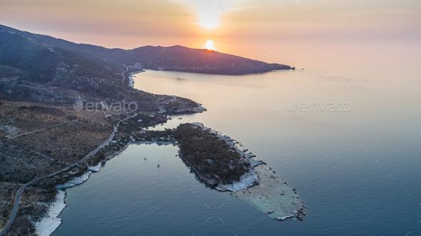 Aliki village. Thassos island, Greece - Stock Photo - Images