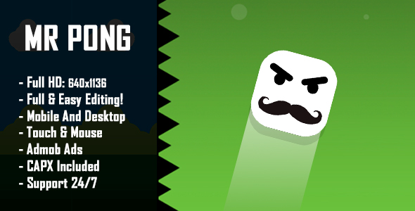 Mr Pong - HTML5 Game + Mobile Version! (Construct 2 / Construct 3 / CAPX)            Nulled