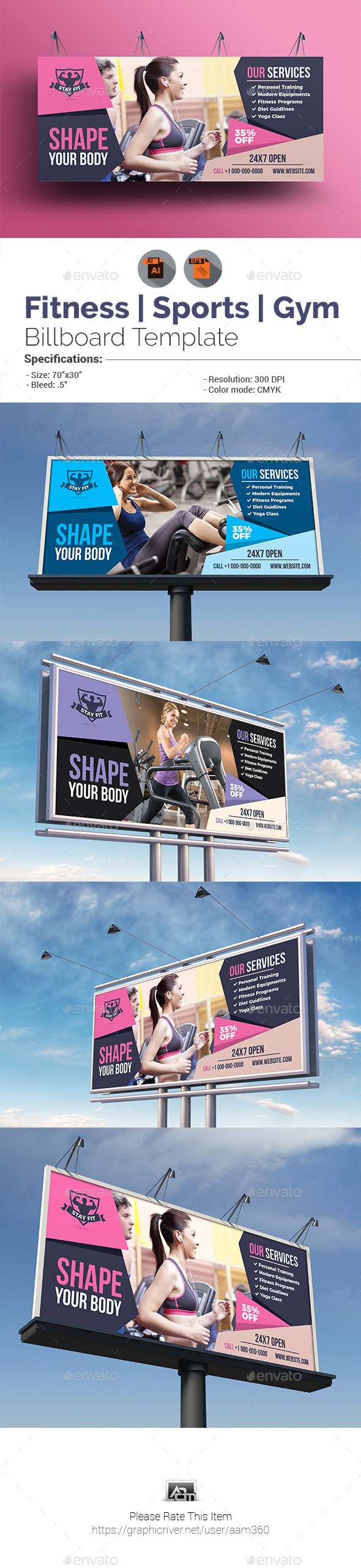 Fitness Billboard Template - Signage Print Templates