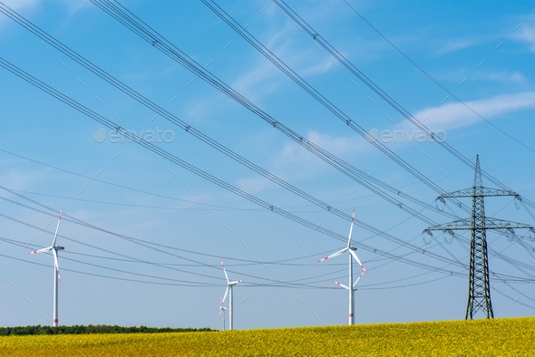 Power transmission lines in a field of flowering oilseed rape - Stock Photo - Images