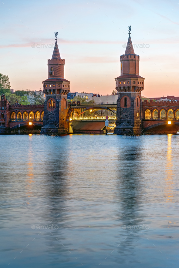 The Oberbaumbridge and the river Spree  - Stock Photo - Images