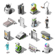 Robotized Hotels Isometric Icons - GraphicRiver Item for Sale