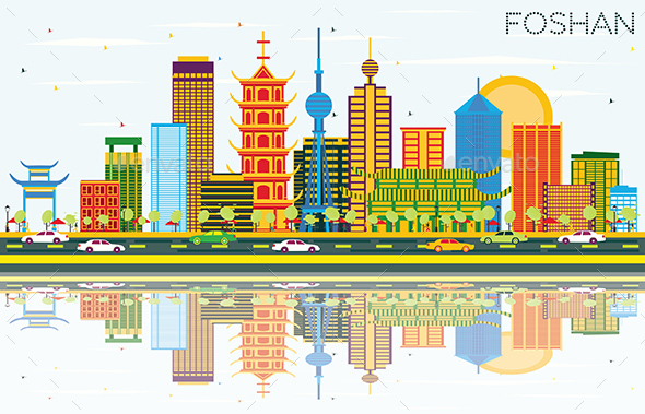 Foshan China Skyline with Color Buildings - Buildings Objects