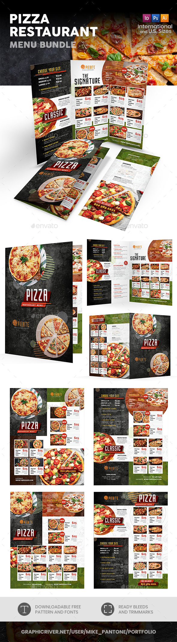 pizza restaurant menu print bundle 3 by mike pantone graphicriver