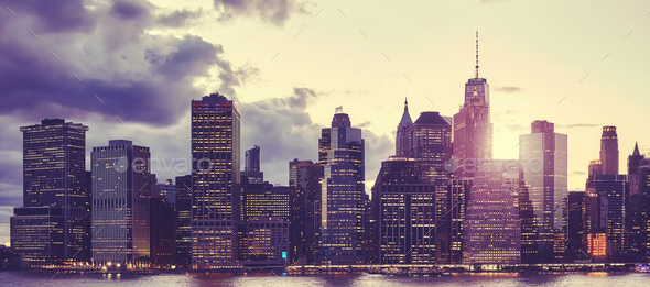 Manhattan skyline at sunset, New York. - Stock Photo - Images