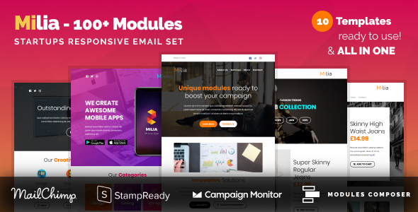 Image of Milia - Responsive Email with 100+ Modules + MailChimp Editor + StampReady + Online Builder