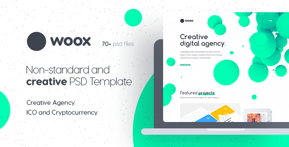 Woox - Non-Standard and Creative PSD Template for Digital Agency and ICO and Cryptocurrency Market - Creative PSD Templates