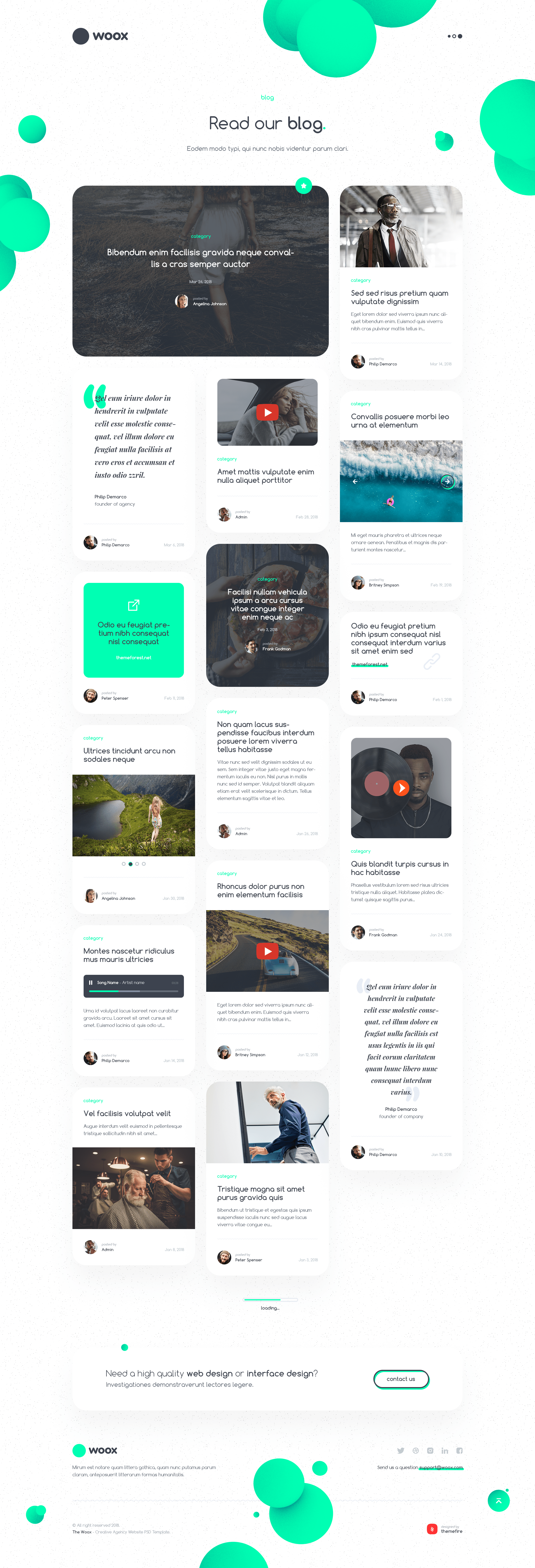 Woox Non Standard and Creative PSD Template for Digital Agency and