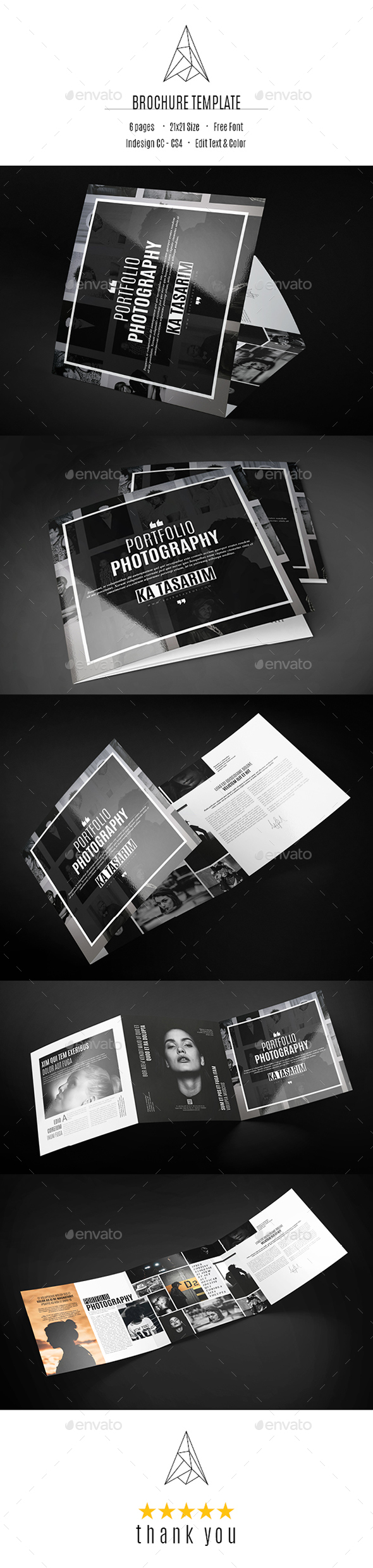 Portfolio Photography Square Trifold - Brochures Print Templates