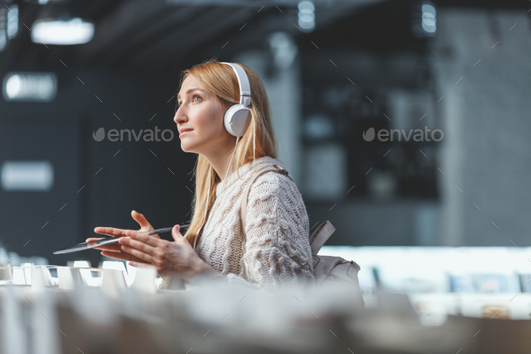 Young dreaming girl with music records - Stock Photo - Images