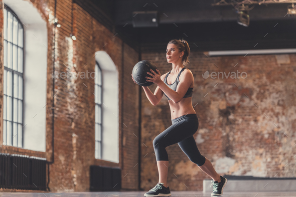 A young girl doing sports - Stock Photo - Images