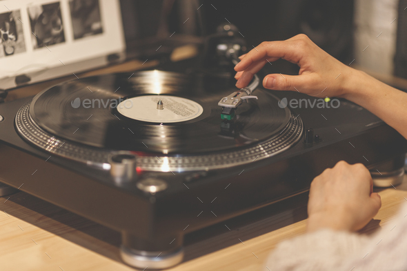 Female hands with a gramophone - Stock Photo - Images