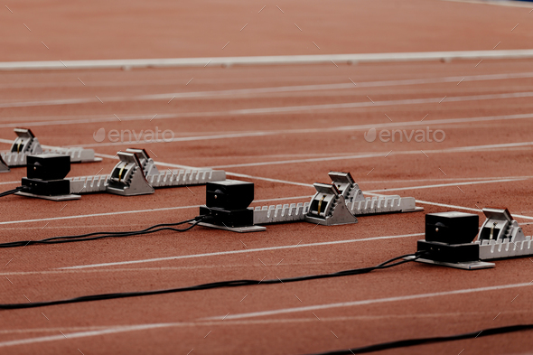 starting blocks with false start system - Stock Photo - Images
