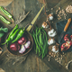 Winter vegetarian or vegan food cooking ingredients, wide composition - PhotoDune Item for Sale