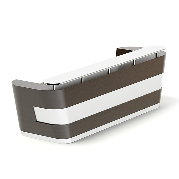 Wooden and Metal Reception Desk 3D Model - 3DOcean Item for Sale
