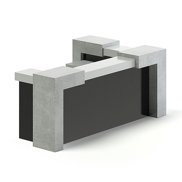 Black and Grey Reception Desk 3D Model - 3DOcean Item for Sale